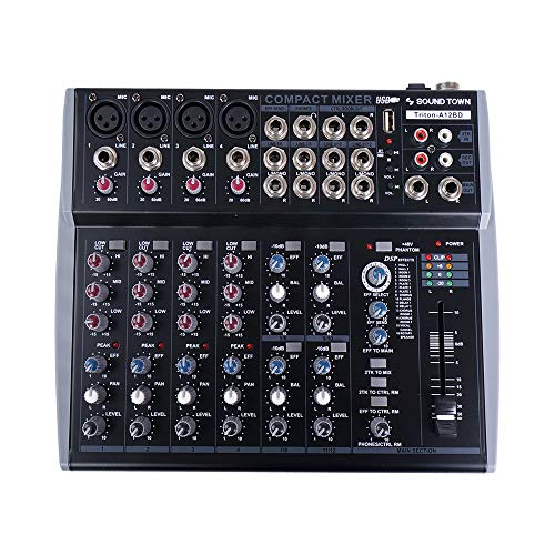 Sound Town Professional 12-Channel Audio Mixer with USB interface, Recording, EQ,...