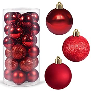 Dr.me 24Pcs Christmas Ball Ornaments for Xmas Christmas Tree - Shatterproof Christmas Tree Decorations Hanging Ball for Holiday  Red