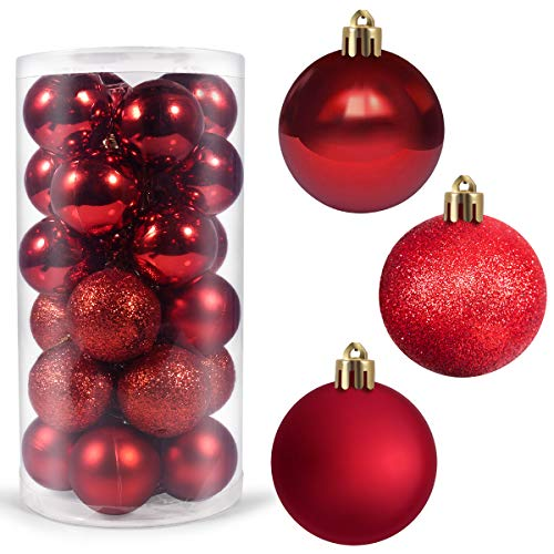 Dr.me 24Pcs Christmas Ball Ornaments for Xmas Christmas Tree - Shatterproof Christmas Tree Decorations Hanging Ball for Holiday (Red)