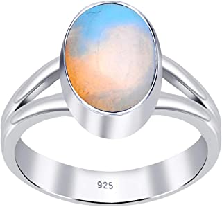 Orchid Jewelry Oval Orange & Blue Opal Ring For Women| 925 Sterling Silver Engagement Ring For Girls | Natural October Bir...