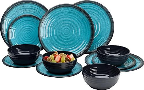 Granito Aqua Premium Plus, set di piatti, 12 pezzi, set di stoviglie in melamina, accessori da caravan