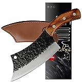 XYJ Cuchillo táctico de cocina de 15,2 cm, cuchillo de chef con funda de cuero de transporte completo Tang 4Cr13 de acero inoxidable para cortar carnicero de carne y verduras herramienta de cocina