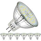EACLL Bombilla LED GU5.3 de 6 W, 6000 K, luz blanca fría, 485 lúmenes, bombillas que pueden reemplazar halógenos de 50 W, MR16, CA/CC, 12 V, sin parpadeo, foco de 120°, luz blanca fría, 6 unidades
