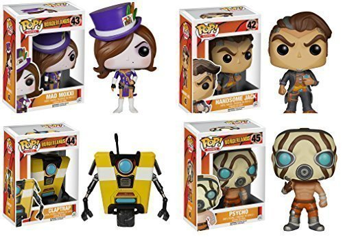 Borderlands Clap Trap, Psycho, Handsome Jack and Mad Moxxi Pop! Vinyl Figures Set of 4 by Borderlands 2