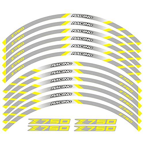 Pegatinas para K-awasaki Z750 Pegatina De Motocicleta Ruedas Traseras Delanteras Calcomanías Reflectantes Pegatinas Impermeables Rayas De Llanta (Color : 14)