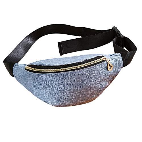 Dorical Shell-Typ Brusttasche für Frauen Casual Sport Geldbörse Canvas Breast Package Messenger Bag, Bauchtasche Gürteltasche Handytasche Wandern, Sport Reisen Wandern Joggen(Blau)