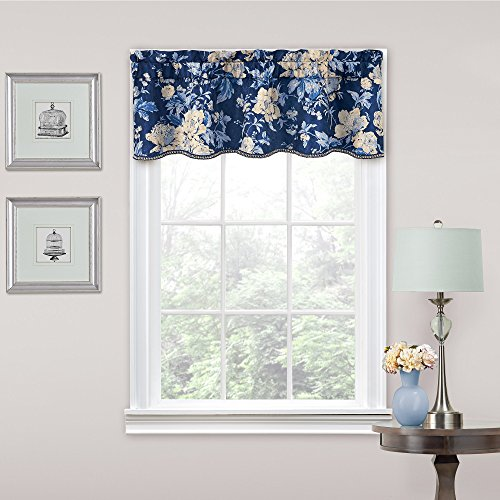 """WAVERLY Forever Yours Rod Pocket Curtains for Kitchen and Living Room, 52"""" x 16"""", Indigo"""