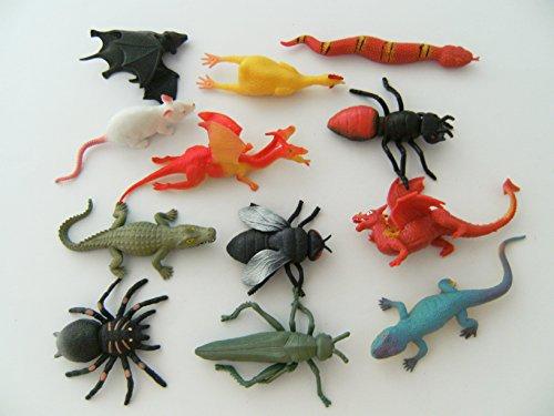 Unbekannt Stretchtiere 12erSet Spielzeug Spieltiere Maus Drache Schlange Fledermaus Krokodil
