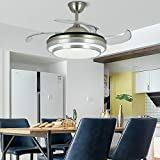 Modern Retractable Ceiling Fan with Light with Remote Control Dimmable LED Chandelier Ceiling Fan Invisible Blades Suitable for Living Room, Bedroom, Kitchen, Dining Room (42 Inches(silver))