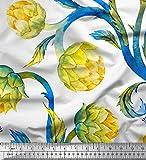 Soimoi Gelb Seide Stoff Blätter & Lotus Blume Stoff