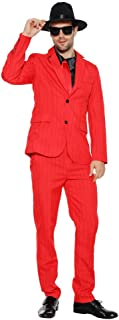 Men's 1920s Gangster Costume Wide Pin Stripe Suit Include Jacket Pants Shirt Front with Attached Necktie