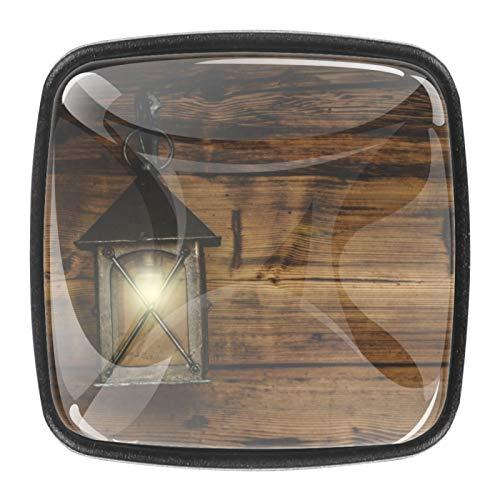 4 pomos cuadrados para aparador, cajones, muebles, baño, cocina, armarios, puertas, faroles, tiradores de pared de madera con tornillos