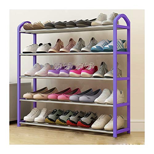 Free Standing Shoe Rack Space Saving Shoe Tower Cabinet Storage Organizer Purple Holds 8-20 Pair of Shoes (Color : Purple, Size : 75cm)