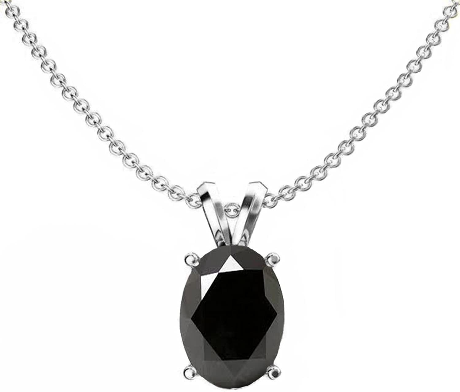 10K White gold 8x6 mm Oval Cut Ladies Solitaire Pendant (Silver Chain Included)