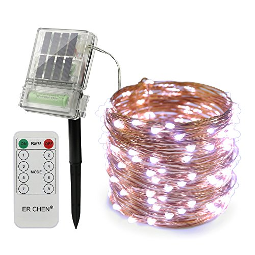 ErChen Solar Powered Led String Lights with Backup Battery Power and Remote Control, 66FT 200 LEDs Copper Wire 8 Modes Decorative Fairy Lights for Outdoor Christmas Garden Patio Yard (White)