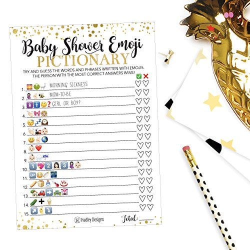 25 Emoji Pictionary Baby Shower Games Ideas For Men, Women, Kids, Girls or Boys, and Couples, Cute Shower Party Bundle Set, Pink, Gold or Blue Gender Neutral Unisex Fun Coed Adult Funny Guessing Cards