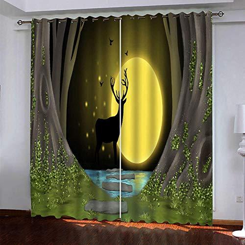 DRFQSK Cortinas Opacas Térmicas Aislantes para Salon Cortinas con Ojales para Dormitorio Impresión 3D Alce Dorado De Luna Llena En El Bosque Cortinas para Ventanas 2 Piezas 140 X 160 Cm(An X Al)