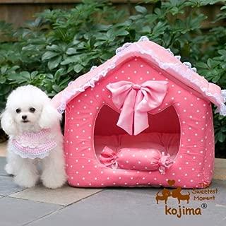 AUBNICO Pink Princess House Pet House, Princess Bedroom (Small)