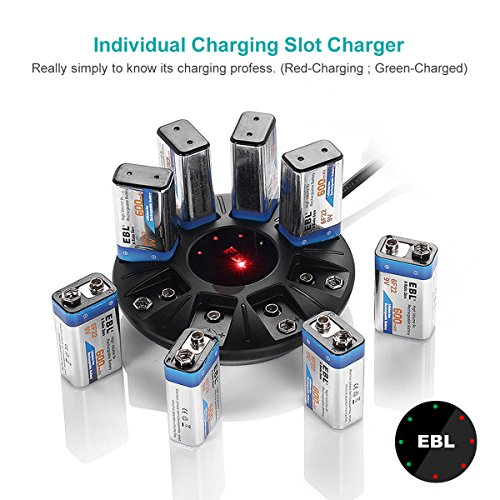 EBL 9V Lithium-ion Battery Charger for Li-ion 9V Rechargeable Batteries, 8 Bay Smart Charger