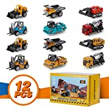 YOOBITION Diecast Construction Vehicles, 12pcs Engineering Toys Cars and Trucks Push & Play Set with Moving...