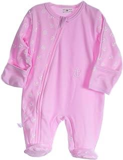 La Bortini Strampler Baby Schlafanzug mit Reißverschluss Overall 50-104 Anzug Rosa mit Anker