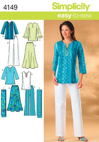 Simplicity Easy-to-Sew 4149 Skirt, Pants, Tunic Top and Scarf Sewing Pattern for Women Sizes 10-18