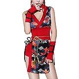 Japanese Kimono Role Lingerie Set Mini Dress with OBI Belt Sexy Girl Geisha Cosplay Costume Outift (Chinese Qipao Kimono)