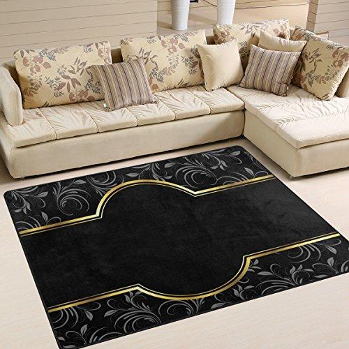 yibaihe schwarz golden Vintage Blumenmuster Bedruckt Große Fläche Teppiche, leicht rutschfeste antistatisch wasserabweisend Boden Teppich für Wohnzimmer Schlafzimmer Home Deck Terrasse,203 x 147 cm