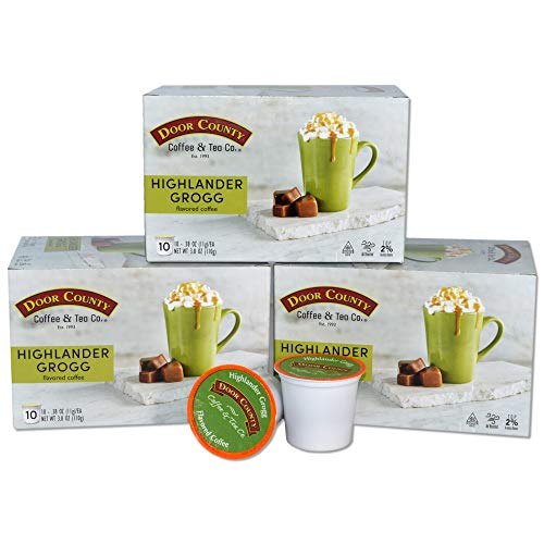 Door County Coffee, Single Serve Cups for Keurig Brewers, Highlander Grogg, Irish Creme and Caramel Flavored Coffee, Medium Roast, Ground Coffee, 30 Count