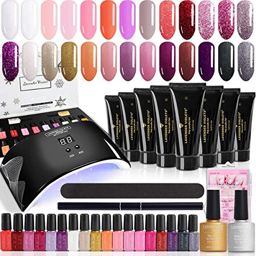 Lavender Violets Gel Nail Manicure Bundle Set of 20PCS Gel Polish Pack and 8 Colors All-in-One Poly Nail Gel Kit with Base n Top Coat + 24W Nail Lamp