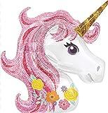 H HANSEL HOME Globo cabeza unicornio rosado 88x108cm para todo tipo de fiestas, ceremonias...