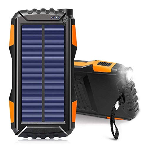 Wttfc Cargador Solar 25000Mah Banco Portable Impermeable al Aire Libre móvil, Copia de Seguridad Mochila Camping Externa USB batería Dual con Linterna LED