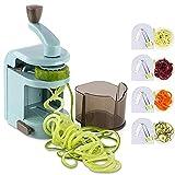 JAY-LONG Cortadora De Verduras En Espiral, Máquina De Fideos En Espiral De Calabacín/Zoodle/Espagueti/Pasta, 4 Cuchillas De Corte En Espiral Incorporadas para Pasta De Espagueti De Verduras