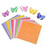 THETAG 50 hojas de papel brillante de colores para scrapbooking de alta calidad para manualidades de tarjetas de cumpleaños y álbumes de recortes, 10 colores