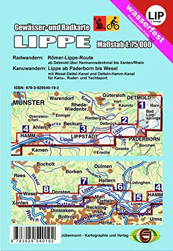 Gewässer- und Radkarte Lippe: Rad Römer-Lippe-Route, Kanu Paderborn bis Wesel