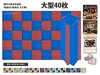 エースパンチ 新しい 40ピースセット青と赤 色の組み合わせ500 x 500 x 30 mm エッグクレート 東京防音 ポリウレタン 吸音材 アコースティックフォーム AP1052