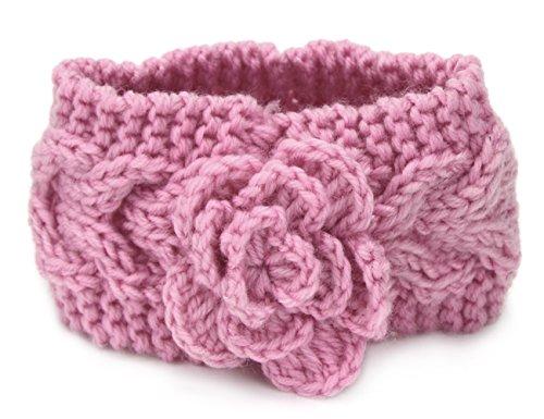 Tininna Bandeau tricoté pour cheveux, chaud, pour hiver, motif floral, tricot torsadé, accessoires pour cheveux, coiffe, bandeau, serre-tête, turban pour enfant rose