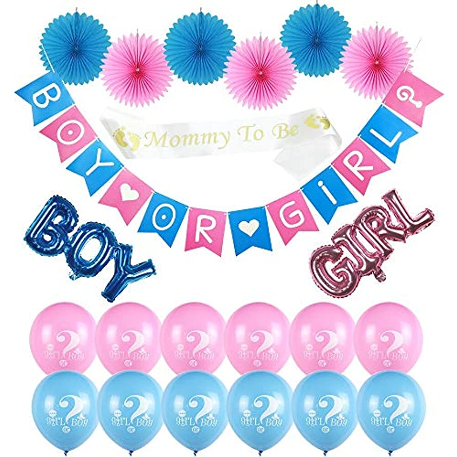 Baby Shower Decorations | Gender Reveal Party Supplies Banner | Boy or Girl Banner and Balloons | Boy and Girl Foil Balloons | Pink and Blue Paper Fans | **Free Gift for Mommy to BE**