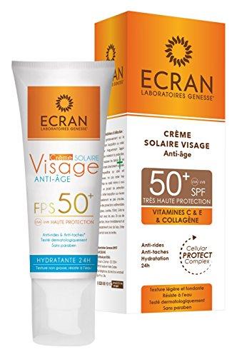 Ecran Crème Solaire Visage Anti-âge SPF 50+ 50 ml - Lot de 2