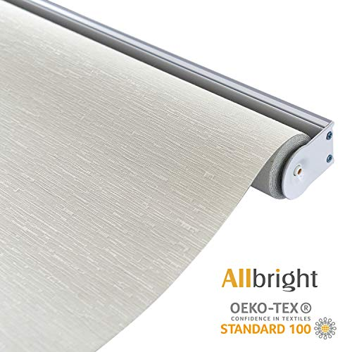 ALLBRIGHT Thermal Insulated Fabric 100% Blackout UV Protection Striped Jacquard Roller Shades for Windows,Easy to Install (Beige, 23''W x 72''H)