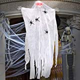 ESSENSON Halloween Decorations Hanging Ghost, 67 Inch Animated Skeleton with Red Eyes and Voice Activated, Scary Skeleton Props for Window Wall and Outdoor Indoor Yard Patio House Decor