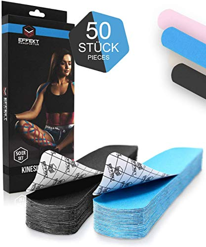 Effekt Manufaktur - [25 cm x 5cm] Kinesiotapes vorgeschnitten in vielen Farben I PreCut Tape wasserfest & elastisch I Extra starkes Kinesiologie Tape