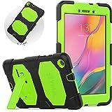 SEYMAC - Funda para Samsung Galaxy Tab A 8.0 2019 (SM-T290 SM-295 SM-T297), Funda Tablet Samsung T290 Resistente A Los Golpes, con Soporte Funda Samsung T290 Pulgadas(Negro/Verde)