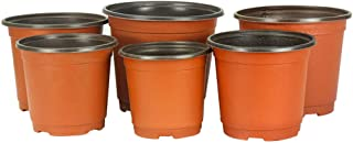 SCAU 50 Pack 4/6 / 8 Inch Round Plastic Planting Pots Flower Seedlings Nursery Supplies Grow Pot/Planter/Flower Pot Container (8'' & 50 Pack)