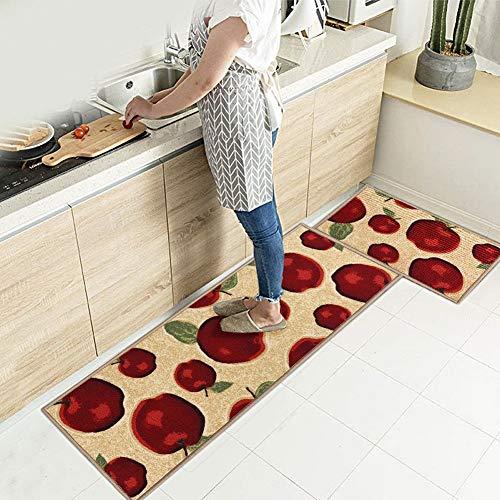 EGOBUY 2PCS Kitchen Rug Set Washable Kitchen Non Slip Area Rugs Mats for Runner Corner Bathroom Home Decoration Doorway Kitchen Pets Welcome Rug (Large, Apple) (Apple, Large)