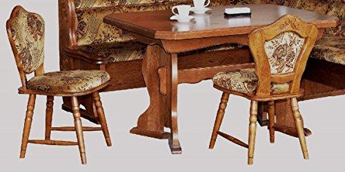Essgruppe Eiche rustikal Kücheneßgruppe ausziehbarer Tisch 2 Stühle Eiche rustikal - (2186)