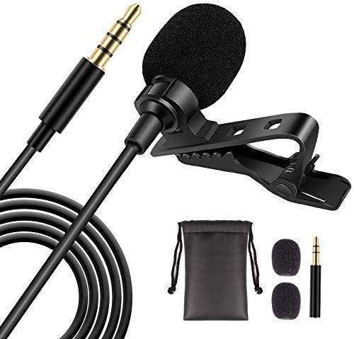 Lavalier Mikrofon für Smartphone und PC, 1,5M omnidirektionales Mini Kondensator Reversmikrofon mit 3,5mm Adapter, perfekt für Interviews, Videokonferenzen, Podcasts, Diktate, Telefone