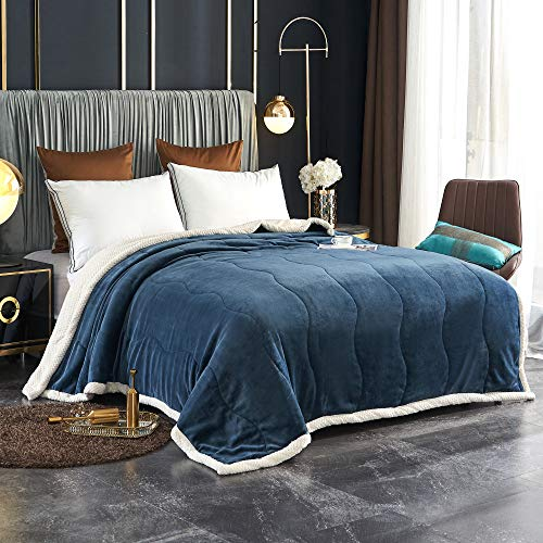 LAFAVILLE Navy Blue Thick Sherpa Bed Blanket – Queen Sherpa Blanket with Fleece – 80 x 90 Large Winter Blanket