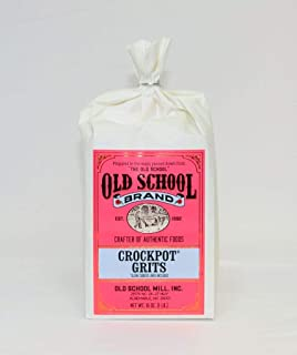 Old School Brand Stone-Ground NON-GMO Crockpot Grits - Includes 16 ounces of Stone Ground, NON-GMO, White Grits and Crockpot Liner for easy cooking and cleanup!