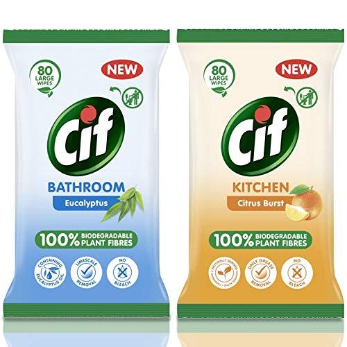Cif Bio - Toallitas para cocina y baño (80 unidades)
